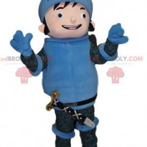 Mascotte van de gelukkige ridder in blauw pantser -