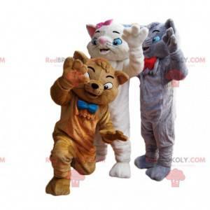 Maskottchen-Trio der grauen, weißen und braunen Katzen -