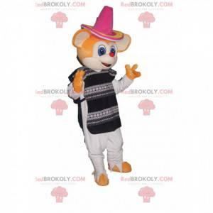 Mascotte topo arancione con sombrero e tunica tradizionale -
