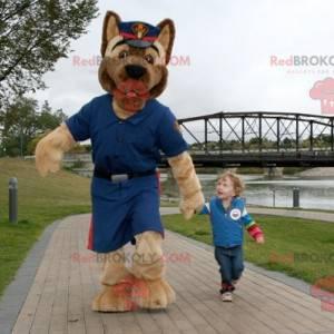 Hnědý pes maskot v policejní uniformě - Redbrokoly.com