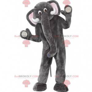 Grijze en witte olifant mascotte met een grote slurf -