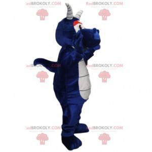 Nachtblaues Drachenmaskottchen mit weißen Hörnern -