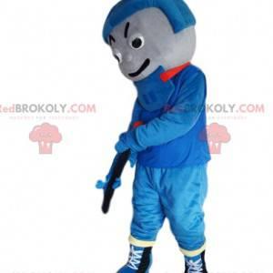 Hockeyspielermaskottchen in blauer Sportbekleidung -