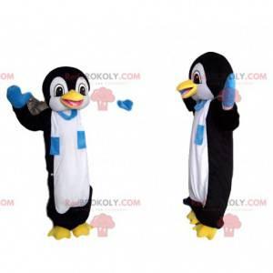 Mascota divertida del pingüino con una bufanda azul y blanca -