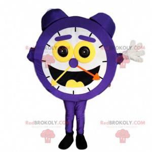 Maskot fialový budík s obrovským úsměvem - Redbrokoly.com