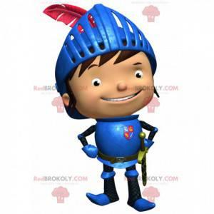 Mascote pequeno e feliz cavaleiro com armadura azul -