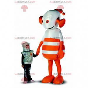 Kæmpe orange og hvid fremmed robotmaskot - Redbrokoly.com