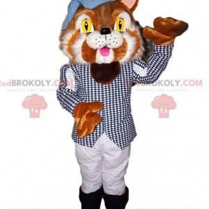 Dvoubarevný maskot kočky s elegantním kostýmem - Redbrokoly.com