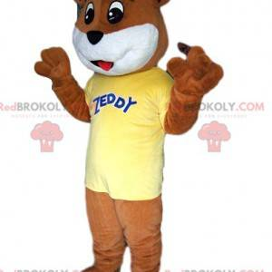 Brown bear mascot touching, with his yellow jersey -