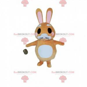 Maskot liten beige kanin med fin snute - Redbrokoly.com