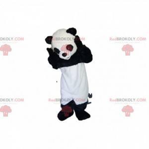 Mascota Panda muy feliz con su mirada conmovedora -