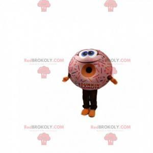 Mascote donut muito sorridente com uma cobertura apetitosa -