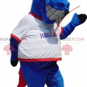 Mascote do cavalo azul maluco, com uma camisa branca -