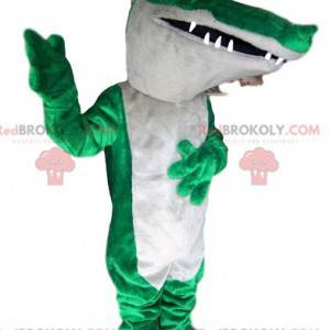 Groen en wit crcocodile mascotte - Redbrokoly.com
