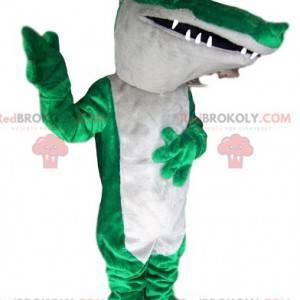 Zelený a bílý maskot krokodýla - Redbrokoly.com