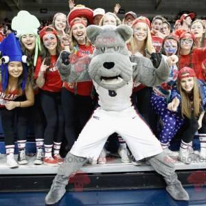 Šedý buldok pes maskot ve sportovním oblečení - Redbrokoly.com