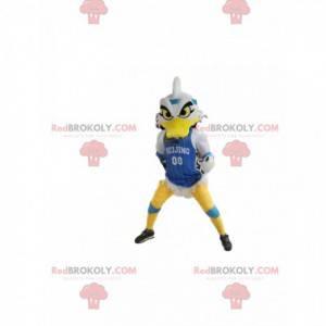 Mascote do pato branco com uma aparência horrível, com uma