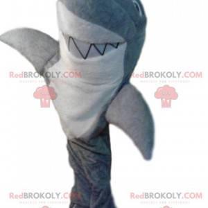 Mascotte squalo grigio e bianco molto sorridente -