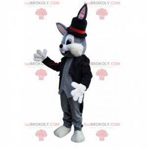 Gray rabbit mascot with a magician costume - Redbrokoly.com