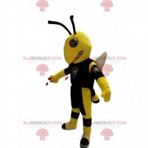 Mascote de vespa amarela e preta, com asas brancas -
