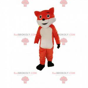 Mascote raposa laranja e branca parecendo safada -