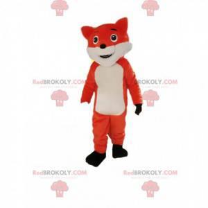 Mascotte arancione e volpe bianca che sembra cattiva -