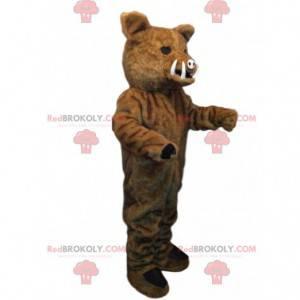 Brown boar mascot with small tusks - Redbrokoly.com