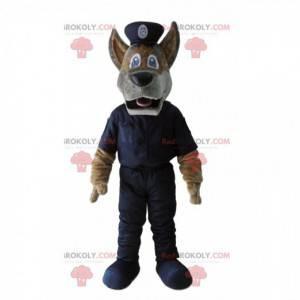 Braunes Hundemaskottchen mit einem Polizistenoutfit -