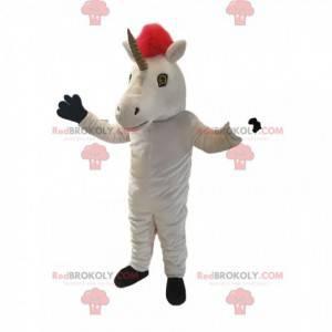 White unicorn mascot with a beautiful red mane - Redbrokoly.com