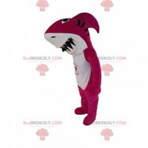 Mascot tiburón fucsia con una enorme mandíbula - Redbrokoly.com