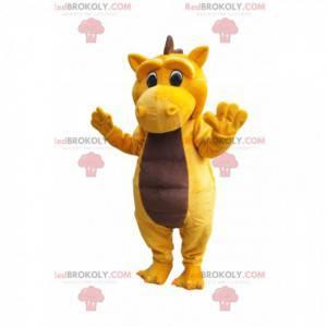 Mascote de dinossauro amarelo e marrom triste - Redbrokoly.com