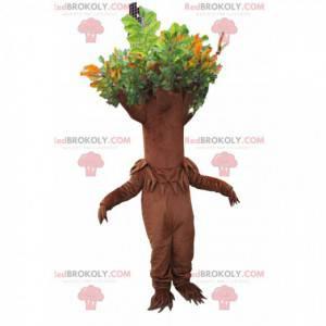 Mascote da árvore marrom com folhagem verde - Redbrokoly.com
