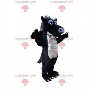 Mascota divertida del dragón negro y gris. Traje de dragón -