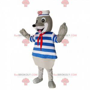 Grijze zeehond mascotte met een badpak en een zeemanshoed -