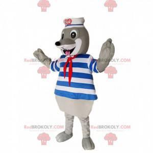 Mascote de foca cinza com maiô e chapéu de marinheiro -
