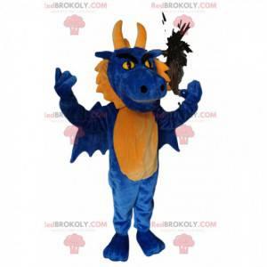 Agresivní modrý a žlutý drak maskot - Redbrokoly.com