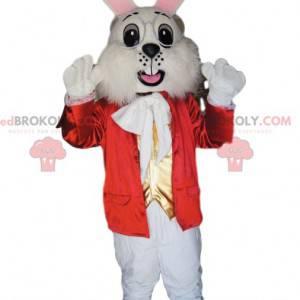 Maskotka królik z elegancką czerwoną kurtką i okularami -