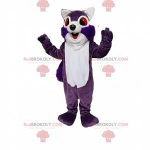 Mascote esquilo roxo e branco super entusiasmado -