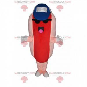 Hot dog maskotka z czapką i okularami przeciwsłonecznymi -