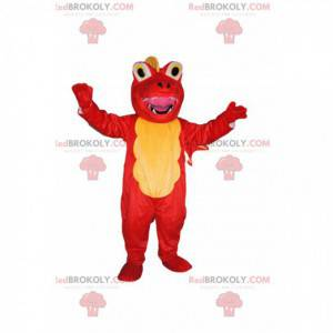 Velmi šťastný žlutý a červený drak maskot - Redbrokoly.com