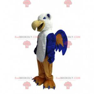 Sehr lachendes Maskottchen des blauen und weißen Adlers -