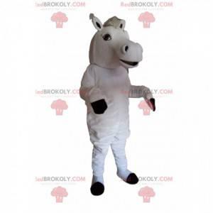 Majestoso mascote do cavalo branco com um puff branco -