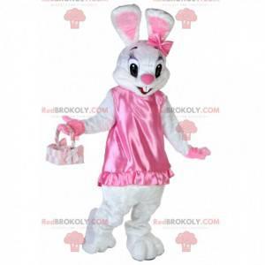 Hvit kaninmaskot i veldig søt og flørtende rosa kjole -