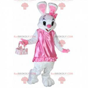 White rabbit mascot in very cute and flirtatious pink dress -