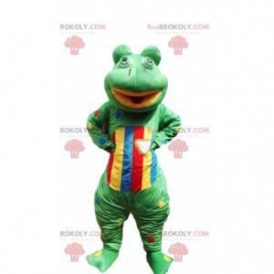 Grünes und mehrfarbiges Froschmaskottchen - Redbrokoly.com