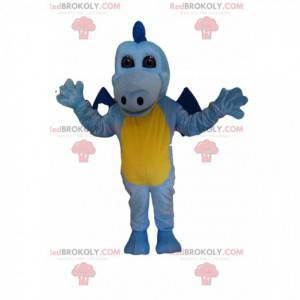 Nebesky modrý a žlutý drak maskot dotýká - Redbrokoly.com