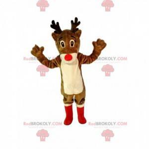 Mascotte di renna con un bel naso rosso e stivali rossi -