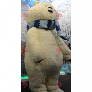 Big polar bear mascot beige bear with a scarf - Redbrokoly.com