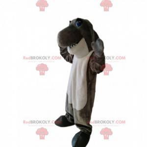 Mascote tubarão cinza e branco muito engraçado - Redbrokoly.com