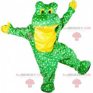Grünes und gelbes Froschmaskottchen mit weißen Punkten -